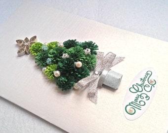 Handmade Christmas Card, Quilling Christmas, Quilling Ornaments, Christmas tree, Holiday Card, Christmas pine tree, silver card