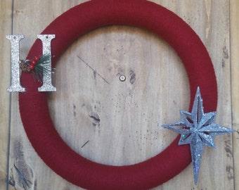 "Christmas Yarn Wreath - 16"" Diameter"
