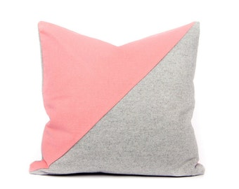 Color Block Geometric Cushion Cover in Baby Pink Cotton and Gray Luxury Wool by LINT Homeware | Home Decor | Cushion Cover UK | Scandinavian