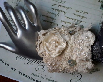 shabby vintage inspired fabric cuff, champagne and ivory, bridal cuff, hand embellished fabric cuff,