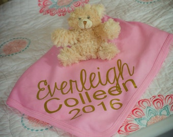 Personalized pink and gold newborn blanket, personalized knit baby blanket, custom name blanket, swaddle wrap blanket, newborn photo prop