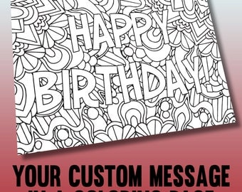 Customized coloring page - Printable A4 coloring page made from your personalized message - Instant Digital Download PDF or JPEG (CBL001)