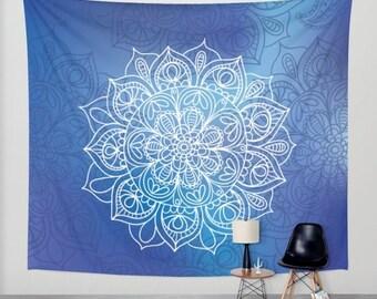 Blue and Purple Mandala Wall Tapestry. Boho Home Decor. Bohemian Unique Tapestry.