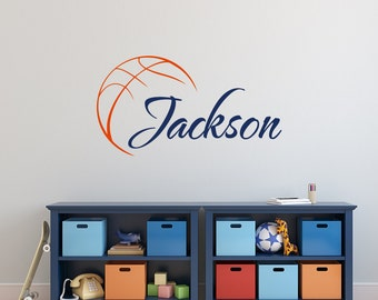 Basketball Name Wall Decal Boy  Basketball Personalized Decal  Boy Name Wall  Decals  Sports