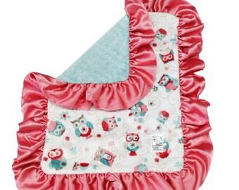 Hooty Security Blanket Coral Aqua