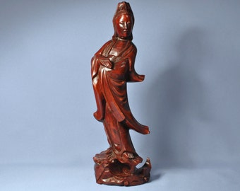Vintage Chinese Rosewood GuanYin Figurine Craft Statue DSC_00695