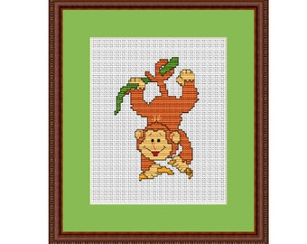 Funny Monkey Counted Cross Stitch Pattern. PDF Instant Download. Pattern.