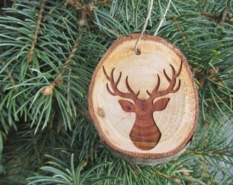 Deer Christmas Ornament | Tree Slice Ornament