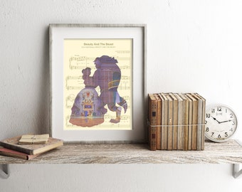 Beauty and the Beast Library Sheet Music Art Print