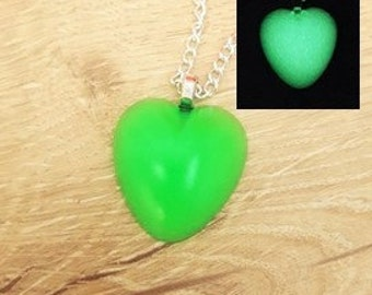 Glow in the Dark Heart Necklace, Glowing Necklace, Glow in the Dark Jewelry, Green Glow in the Dark Jewelry, Glow Jewelry, Greenery