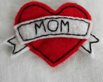 Heart with Banner Mom Tattoo Style Brooch
