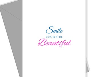 Love Card for Her for Him for Friend. Greeting Card for Boyfriend Girlfriend. Valentines Card. Smile Cos You're Beautiul. Blank Inside