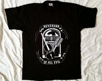 Reverend of all evil - T-Shirt - men's - black - white - rockabilly - psychobilly - microphone - Jukebox - double bass