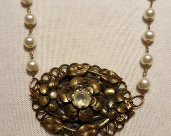 Vintage Pearl Necklace with Antique Flower Pendant