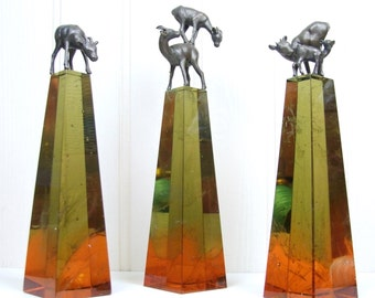 Set of 3 Lost Wax Cast Glass & Bronze Rocky Mountain Sheep Sculptures by Jessica Irena Smith