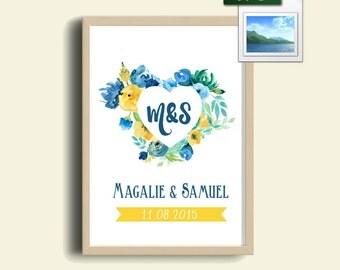 Affiche A3/A4 Cadeau Personnalisé A IMPRIMER SOI-MEME avec les Initiales Couple et la Date de Mariage/Fiançailles/Rencontre