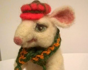 "Mr.""Mouse"" needle felted sculpture, sheep wool, hand made."