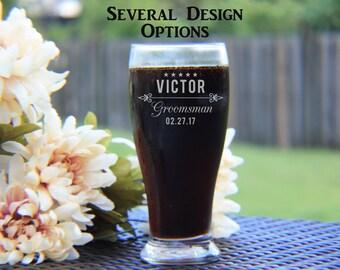 Set of 6 Engraved Pilsner Glasses, Groomsman Gift, Custom Engraved Pilsner Glass, Beer Mug, Personalized Pilsner, Happyism, Groomsman Favor