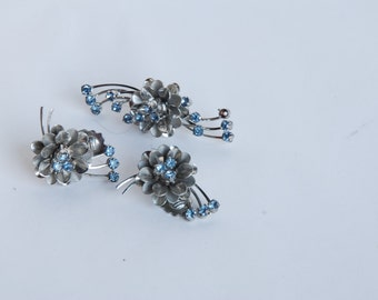 Vintage Blue and silver brooch and earring set - Free Shipping