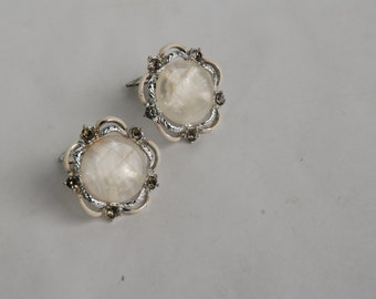 Free Shipping - Vintage white and smokey stone clip on earrings