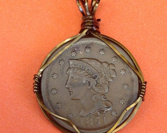Wire wrapped US large penny coin- 1851