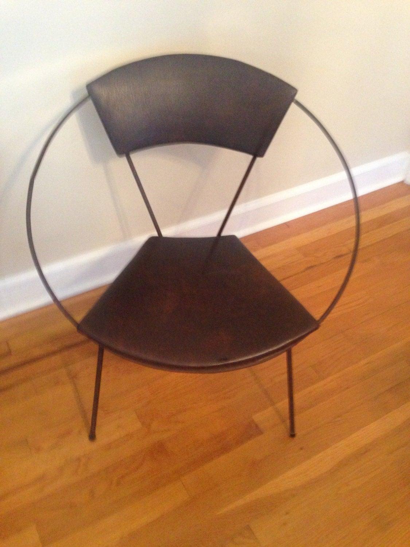 Mid Century Modern Hoop Chair Vintage Brown Vinyl Made In