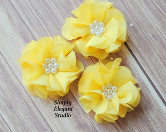 Yellow Chiffon Flowers with Pearls, Headband Flowers, Wholesale Flowers, Craft Flower Supply