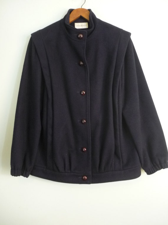 Minimalist 1980s Wool Jacket / Inky Navy Lined Winter Car Coat / Leather Look Buttons / Modern Size Large to Extra Large