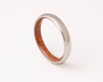 Titanium and Mahogany // Mens Wood Rings //wood Wedding Band //Men's wedding Band
