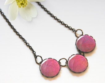 Pink necklace, Glass dome necklace, Chunky bib necklace, Trio necklace, Boho jewelry for women, Gift idea, 5089-1