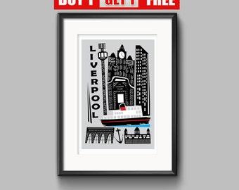 Liverpool  Print, Liverpool Art, Mersey Print , Liverpool Painting, Liverpool Modern Art Print