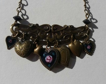 CLEARANCE SALE Vintage Pididdly Links Heart Necklace Victorian Collectable Enamel Art Nouveau Charm Rose