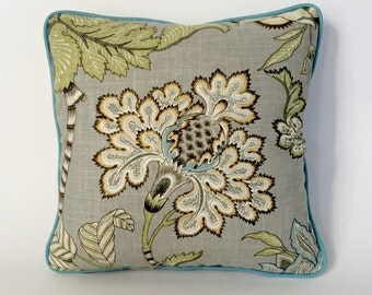 "Classic Grey Floral 18"" x 18"" Pillow Cover Gray, Green, Gold and Turquoise"