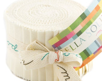 "Bella Solids - Jr Jelly Roll - Moda - (20) 2.5"" Strips - Cream #60"