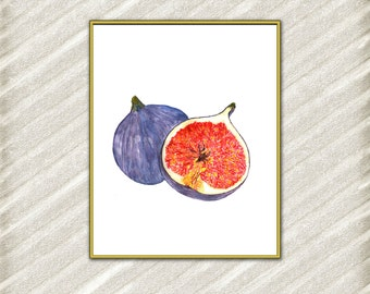 Fig print watercolor print Fruit print Kitchen wall decor Home Decor Fig Poster Digital Art Print Tropical Print watercolor painting