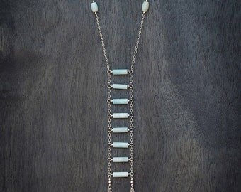 Ladder Necklace - Amazonite and Silver