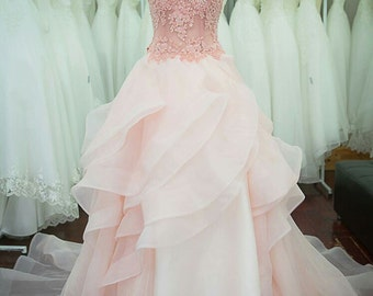 Pastel Pink Starlight Wedding Dress / Bridal Gown/ Bridal dress / Prom dress / Formal dress