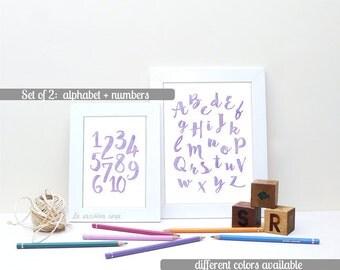 Watercolor alphabet, printable poster, Purple Alphabet wall art, Playroom decor, Alphabet art, Pastel Nursery Print