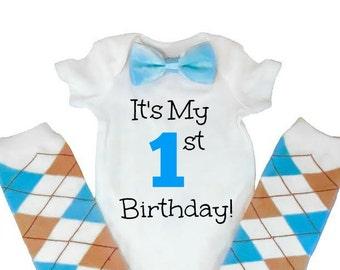 First Baby Boy Birthday Outfit, Newborn Birthday Outfit, Boys 1st Birthday, First Birthday Boy, Argyle Leg Warmers
