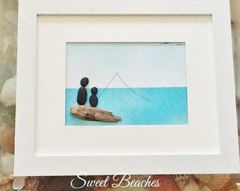 "Pebble Art  "" Bonding "" Gift Beach Decor Stone Rock People"