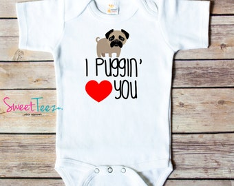 Funny Dog Shirt Pug Baby Bodysuit Girl Boy Bib