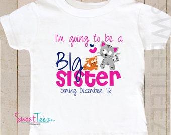 Big Sister Shirt Kitty Cat Shirt Big Cousin Personalized Due Date Shirt Sibling Announcement Shirt