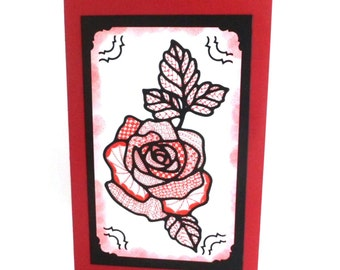 Red Rose, Blank All Occasion Card, OOAK, Original Art, Handmade Greeting Card, TwoSistersGreetings