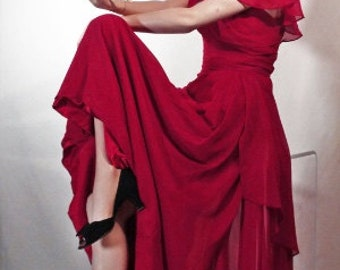 1940s Style Evening Dress Claret Red Chiffon With Side Fall Sz 10-1