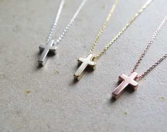 Thank you SALE - Tiny cross necklace / delicate cross short necklace / dainty cross necklace / cross layered necklace / Layered necklace