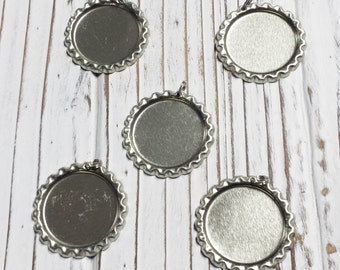 Flat Bottle Caps, With Hole and 6 mm Split Ring, Pendant, Silver,  Linerless, Bottlecaps - 5 PCS