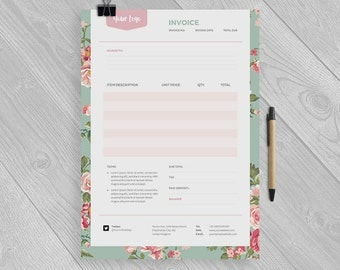 Floral Invoice Template - Receipt Template - Format Photoshop and MS Word