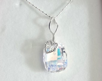Swarovski Crystal Necklace,Sterling Silver Necklace,Heart charm Necklace, Gift For Her
