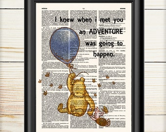Classic Pooh Wall Art, Winnie The Pooh, Nursery Print, Gift for Kids, Nursery Gift, Disney Art, Dictionary Art, 159