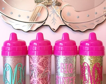 Glitter Sippy Cups, 10 oz Toddler Cup, Monogrammed Sippy Cups, Personalized Sippy Cups, Sippy Cup, Baby Cup